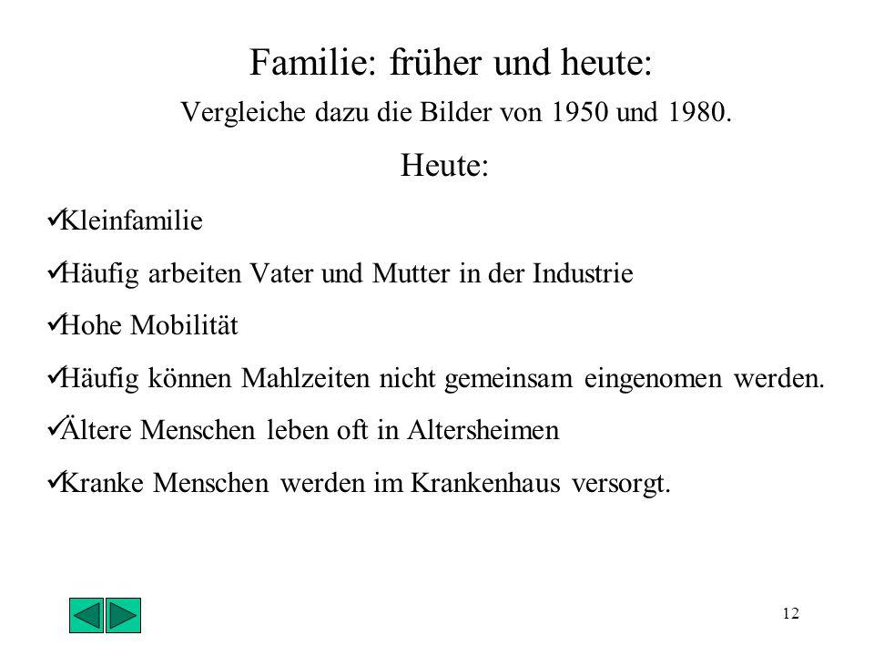 Familie: früher und heute: Vergleiche dazu die Bilder von 1950 und 1980.