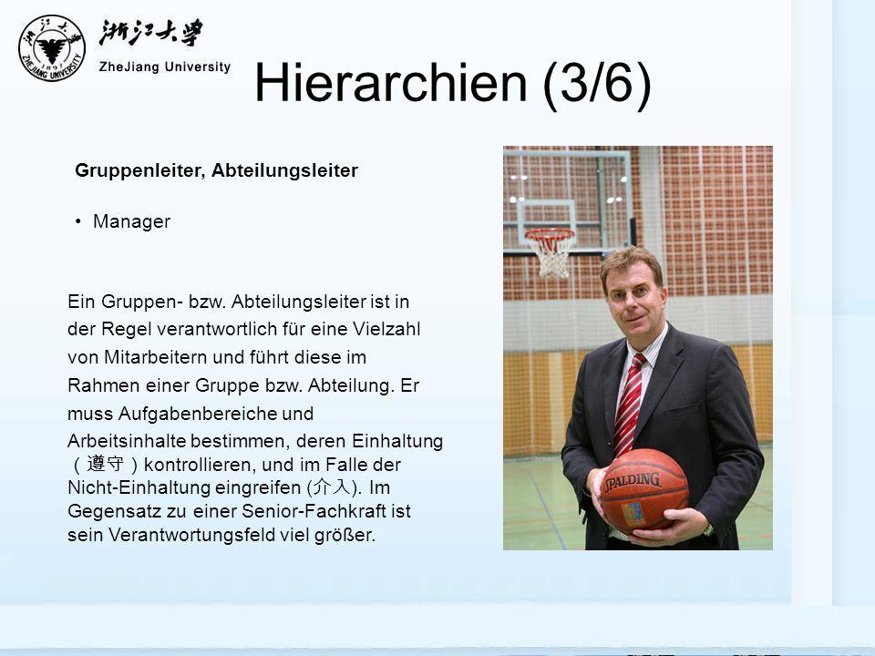 Hierarchien (3/6) Gruppenleiter, Abteilungsleiter Manager