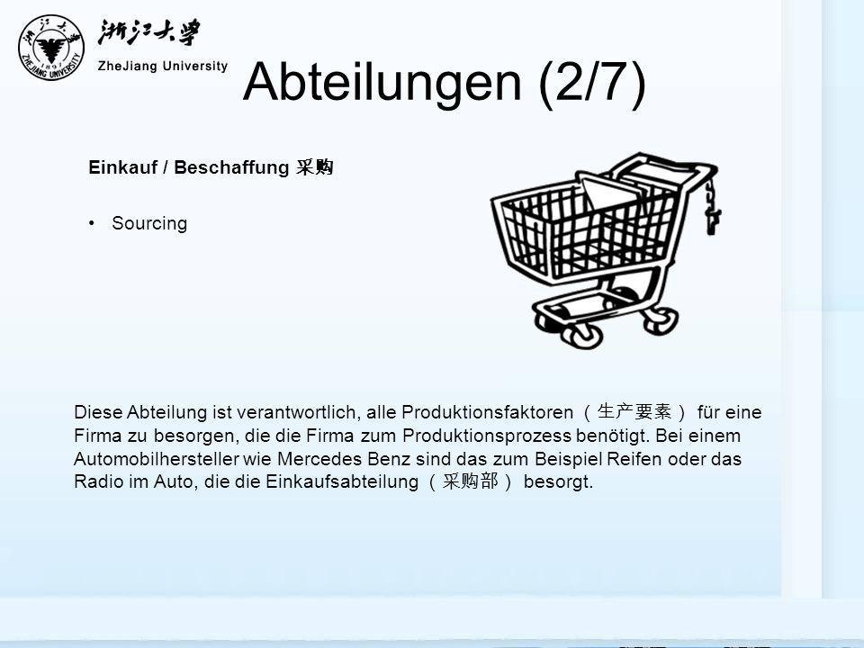 Abteilungen (2/7) Einkauf / Beschaffung 采购 Sourcing