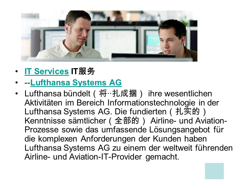 IT Services IT服务 --Lufthansa Systems AG.
