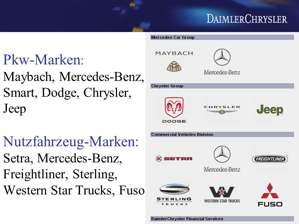 Pkw-Marken: Maybach, Mercedes-Benz, Smart, Dodge, Chrysler, Jeep Nutzfahrzeug-Marken: Setra, Mercedes-Benz, Freightliner, Sterling, Western Star Trucks, Fuso