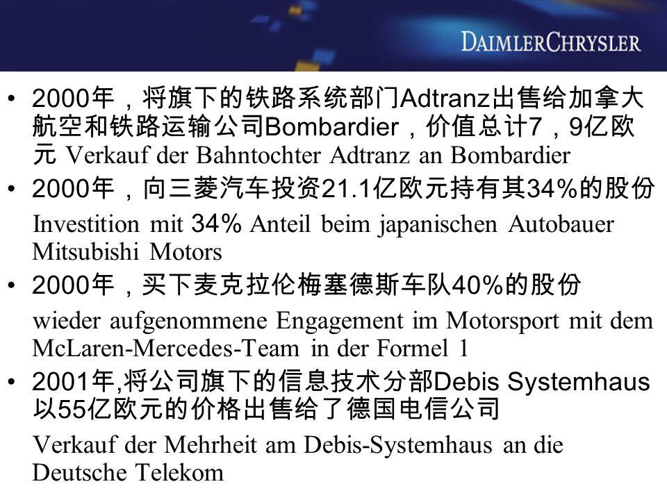 2000年,将旗下的铁路系统部门Adtranz出售给加拿大航空和铁路运输公司Bombardier,价值总计7,9亿欧元 Verkauf der Bahntochter Adtranz an Bombardier