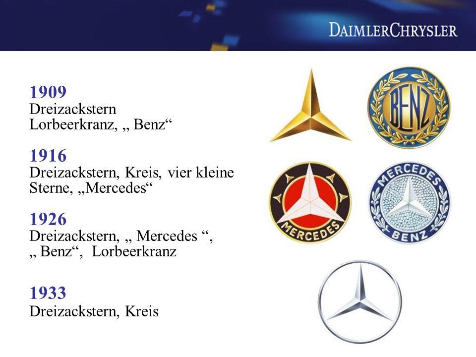 """1909 Dreizackstern Lorbeerkranz, """" Benz 1916 Dreizackstern, Kreis, vier kleine Sterne, """"Mercedes 1926 Dreizackstern, """" Mercedes , """" Benz , Lorbeerkranz 1933 Dreizackstern, Kreis"""