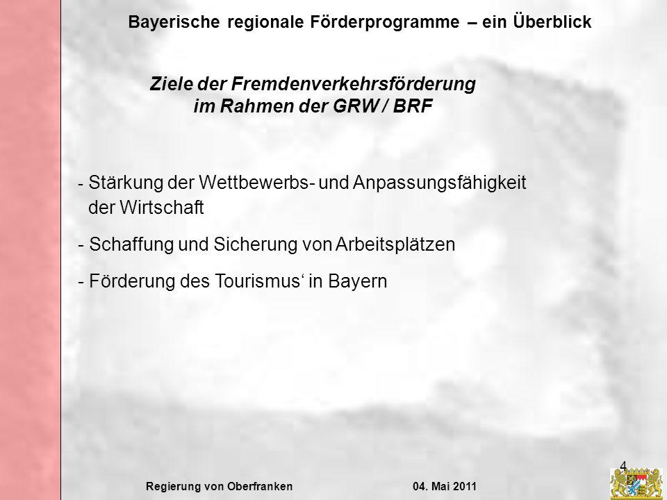 Ziele der Fremdenverkehrsförderung im Rahmen der GRW / BRF