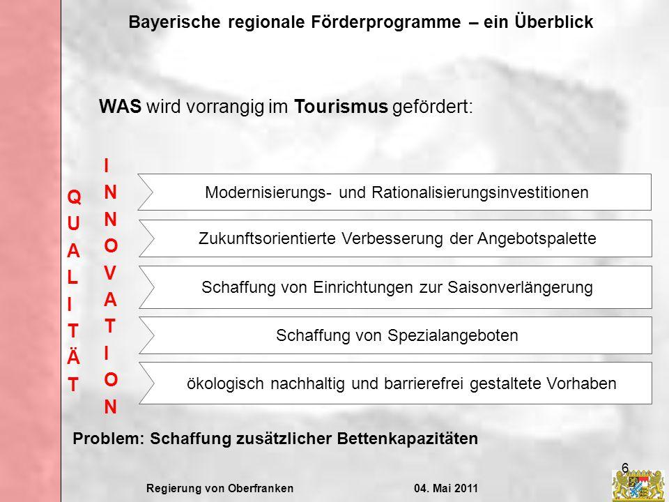 WAS wird vorrangig im Tourismus gefördert: