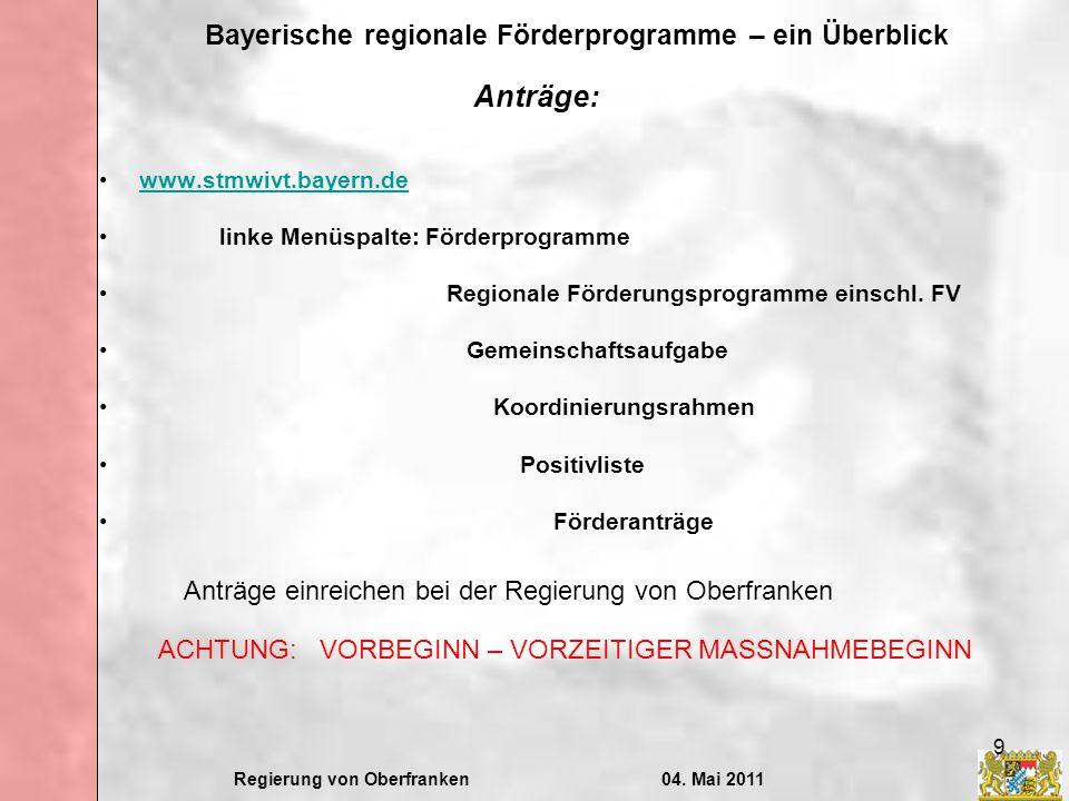 Anträge: Anträge einreichen bei der Regierung von Oberfranken