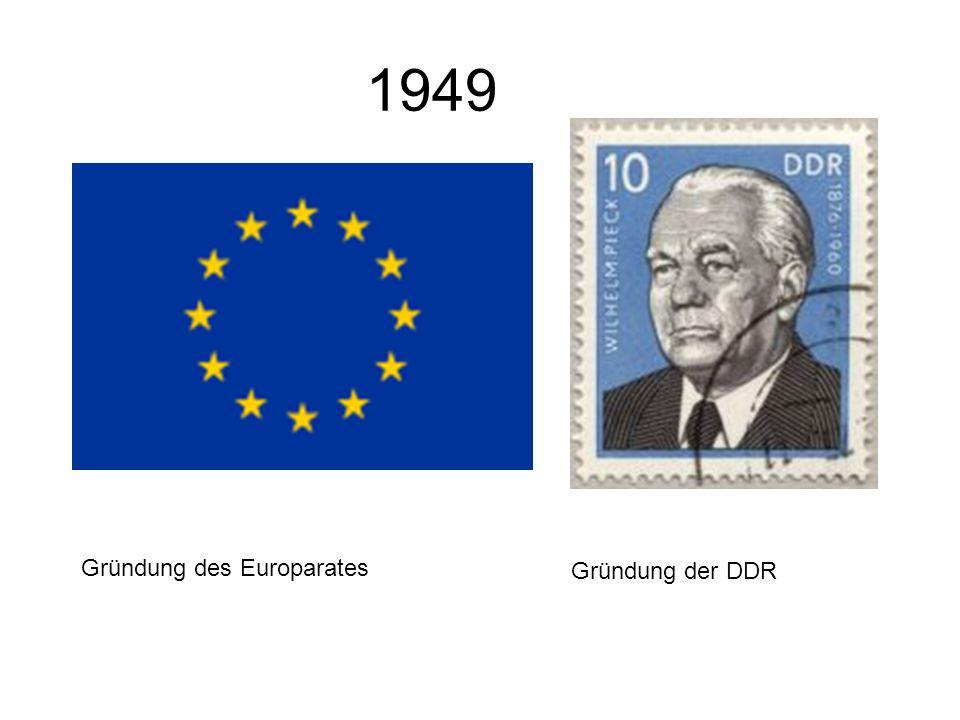1949 Gründung des Europarates Gründung der DDR