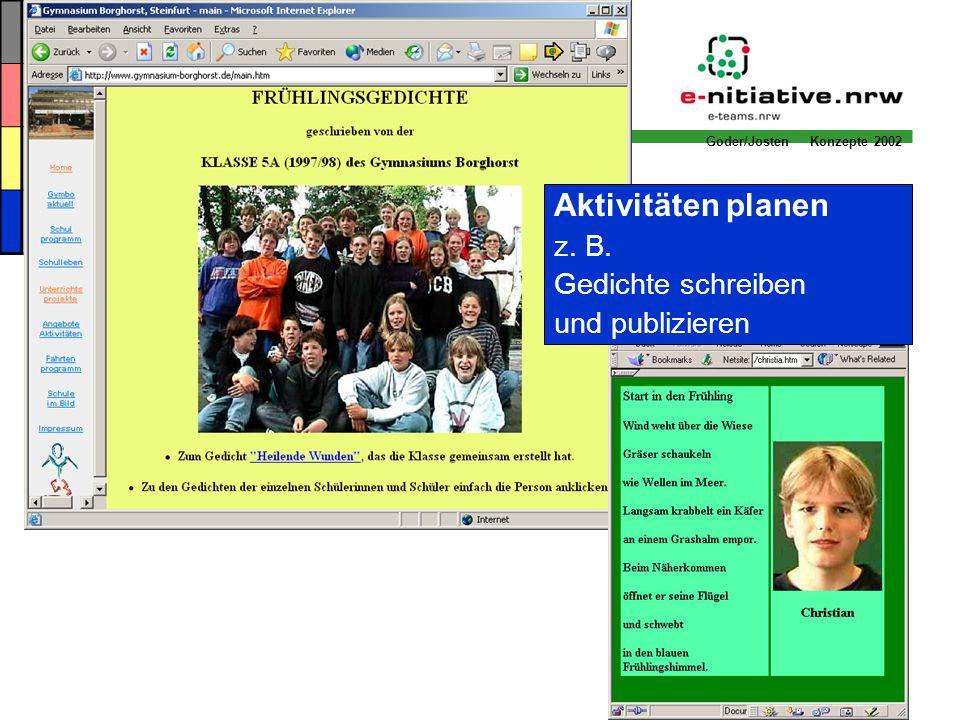 Aktivitäten planen z. B. Gedichte schreiben und publizieren