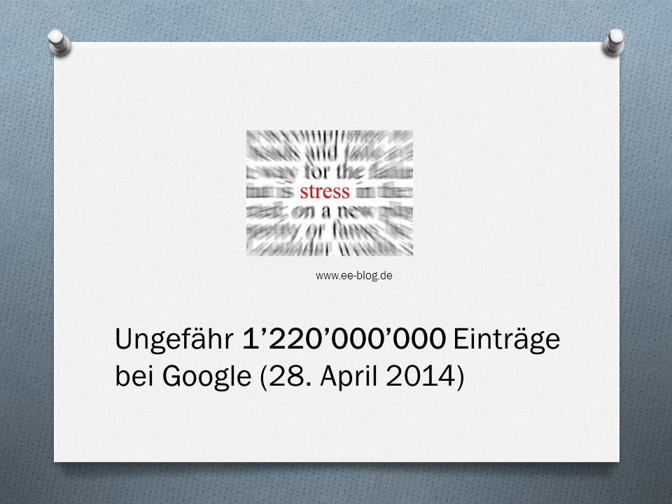 Ungefähr 1'220'000'000 Einträge bei Google (28. April 2014)