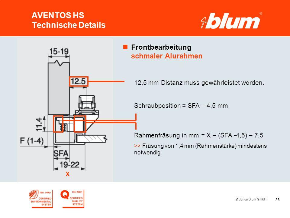 AVENTOS HS Technische Details