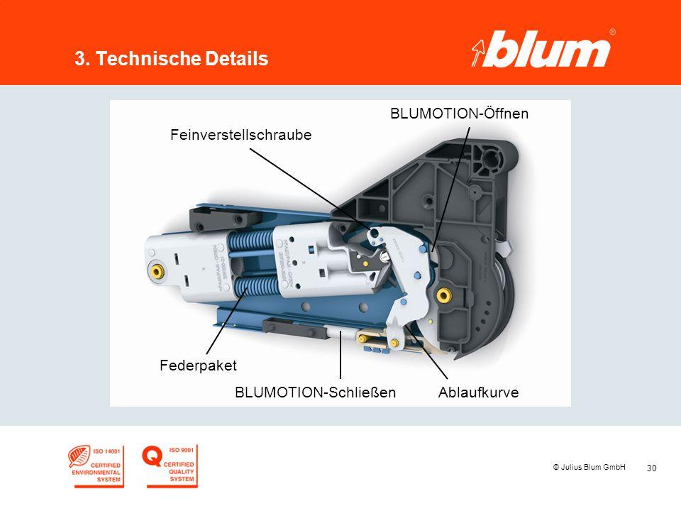 3. Technische Details BLUMOTION-Öffnen Feinverstellschraube Federpaket