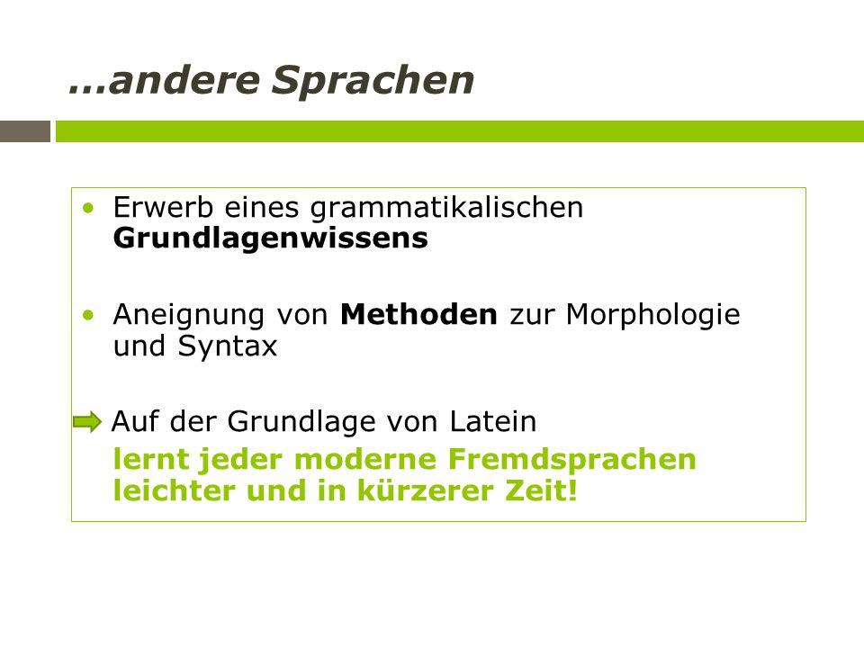 …andere Sprachen Erwerb eines grammatikalischen Grundlagenwissens