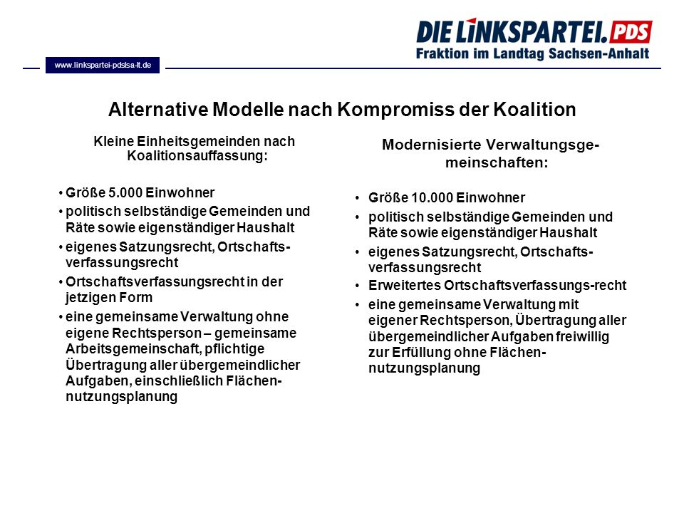 Alternative Modelle nach Kompromiss der Koalition