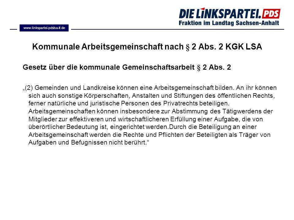Kommunale Arbeitsgemeinschaft nach § 2 Abs. 2 KGK LSA