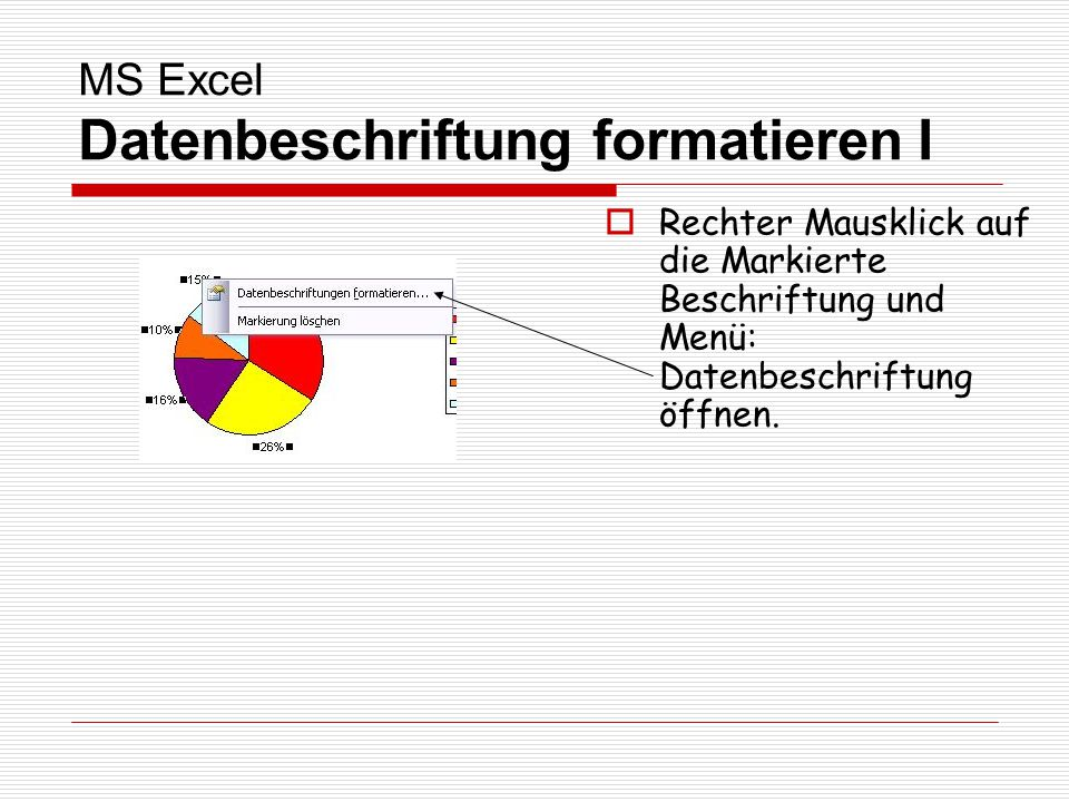 MS Excel Datenbeschriftung formatieren I