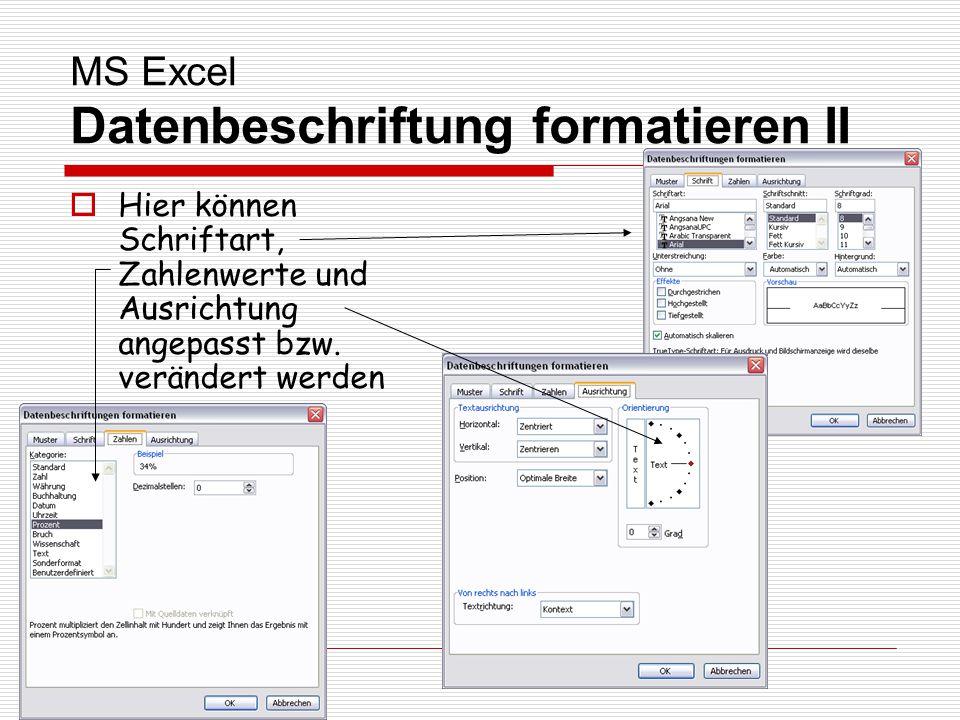 MS Excel Datenbeschriftung formatieren II