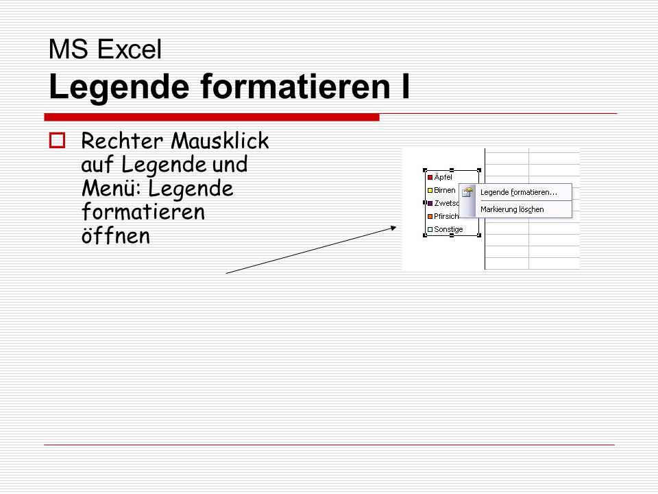 MS Excel Legende formatieren I