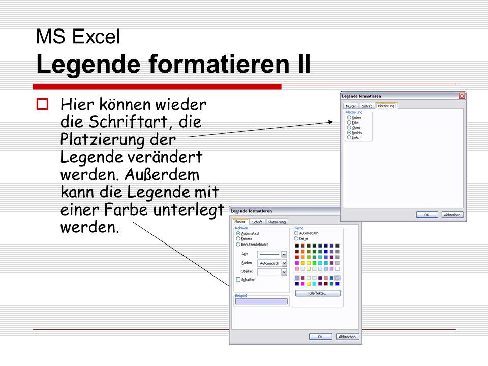 MS Excel Legende formatieren II