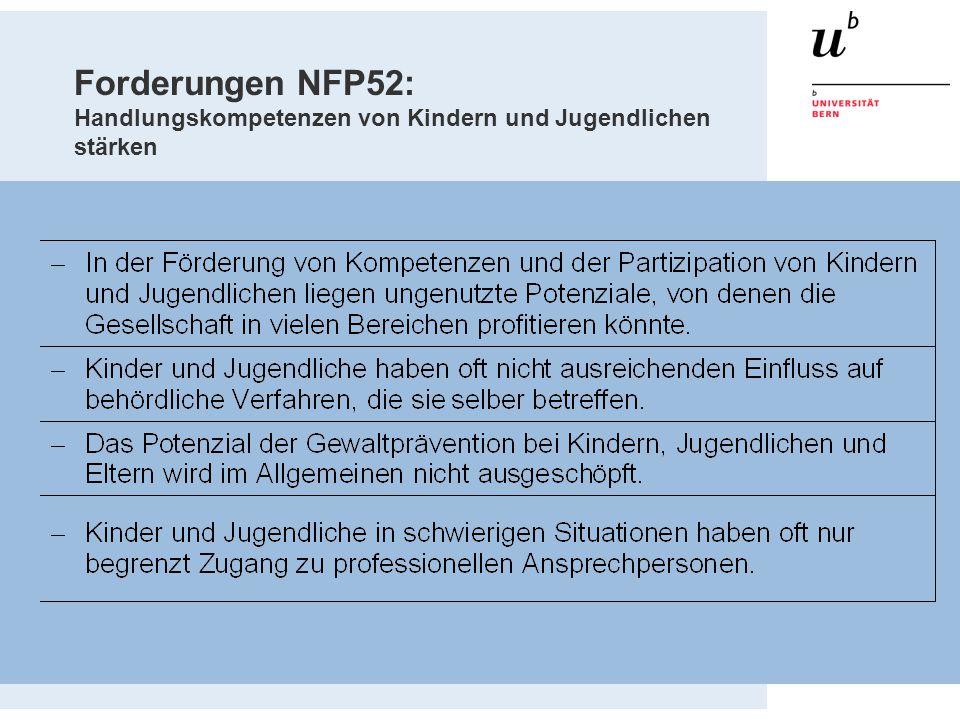 Forderungen NFP52: Handlungskompetenzen von Kindern und Jugendlichen