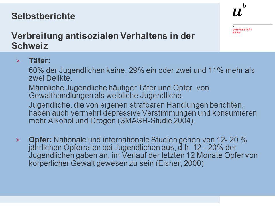 Selbstberichte Verbreitung antisozialen Verhaltens in der Schweiz