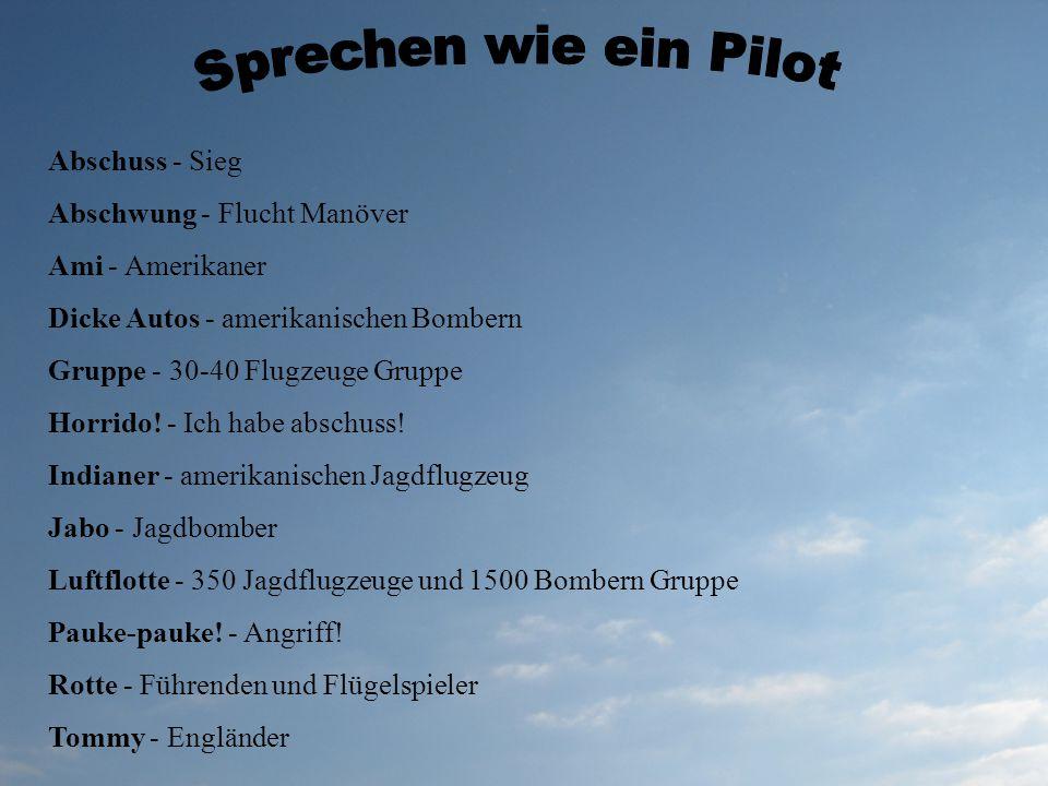 Sprechen wie ein Pilot Abschuss - Sieg Abschwung - Flucht Manöver