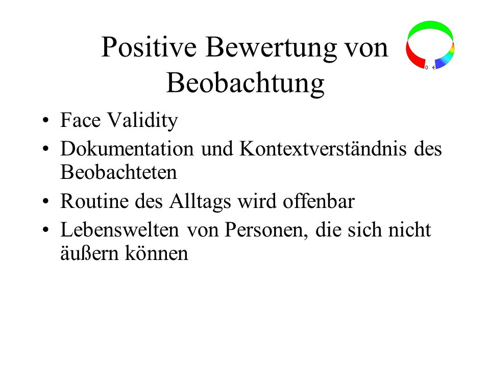 Positive Bewertung von Beobachtung