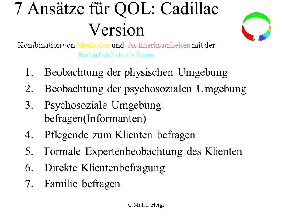 7 Ansätze für QOL: Cadillac Version Kombination von Methoden und Aufmerksamkeiten mit der Bedürfnisliste als Items