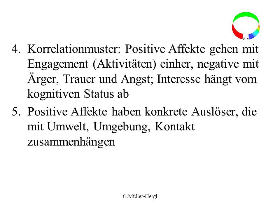 Korrelationmuster: Positive Affekte gehen mit Engagement (Aktivitäten) einher, negative mit Ärger, Trauer und Angst; Interesse hängt vom kognitiven Status ab