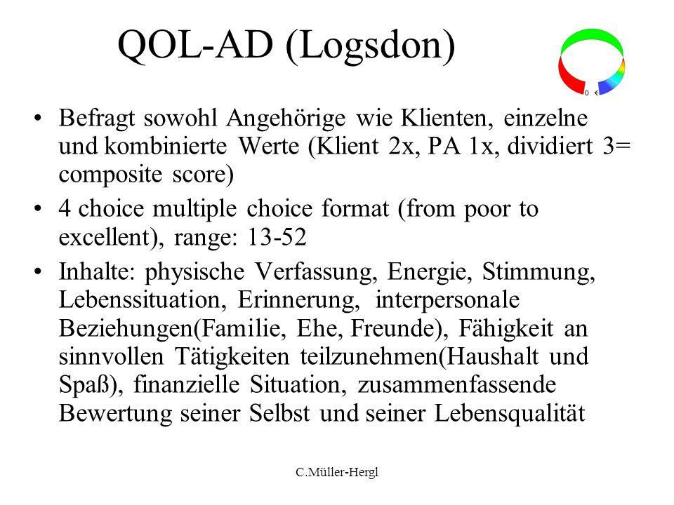 QOL-AD (Logsdon) Befragt sowohl Angehörige wie Klienten, einzelne und kombinierte Werte (Klient 2x, PA 1x, dividiert 3= composite score)