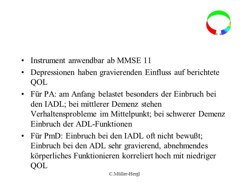 Instrument anwendbar ab MMSE 11