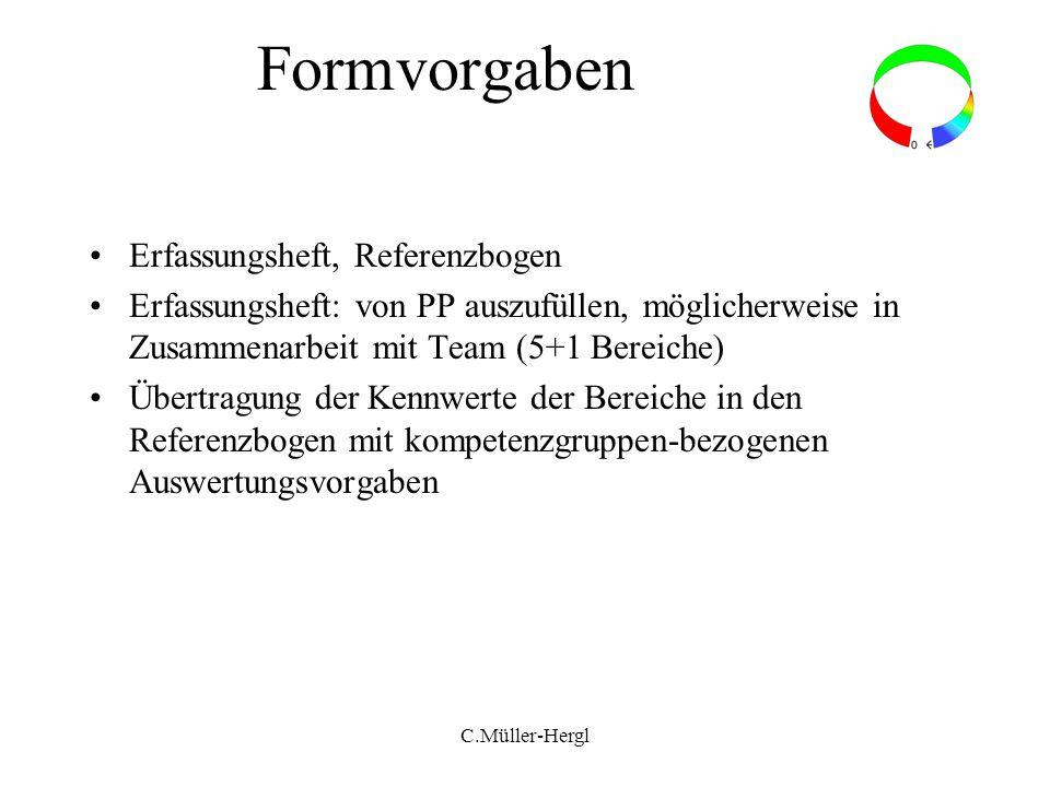 Formvorgaben Erfassungsheft, Referenzbogen