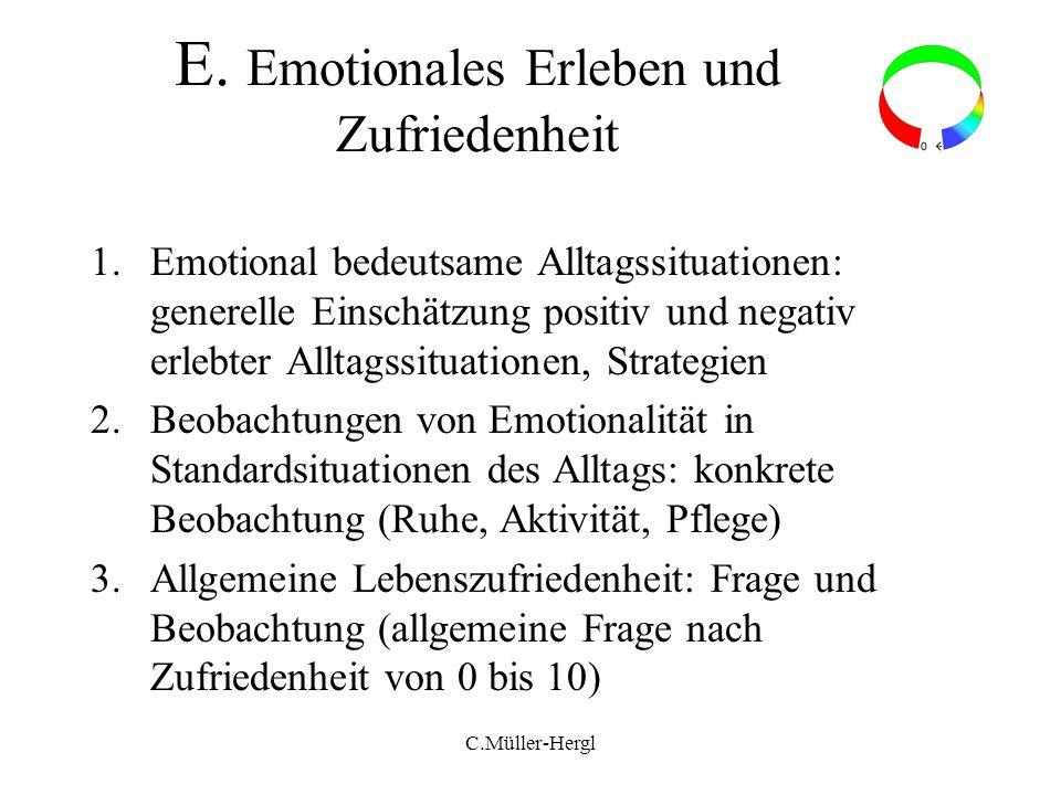 E. Emotionales Erleben und Zufriedenheit