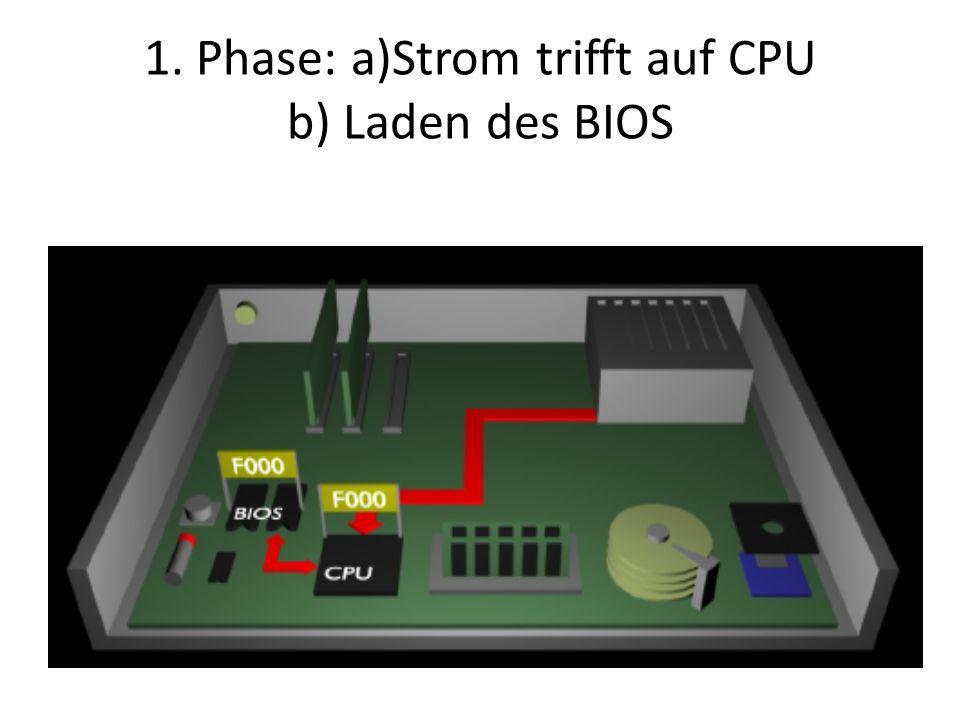 1. Phase: a)Strom trifft auf CPU b) Laden des BIOS
