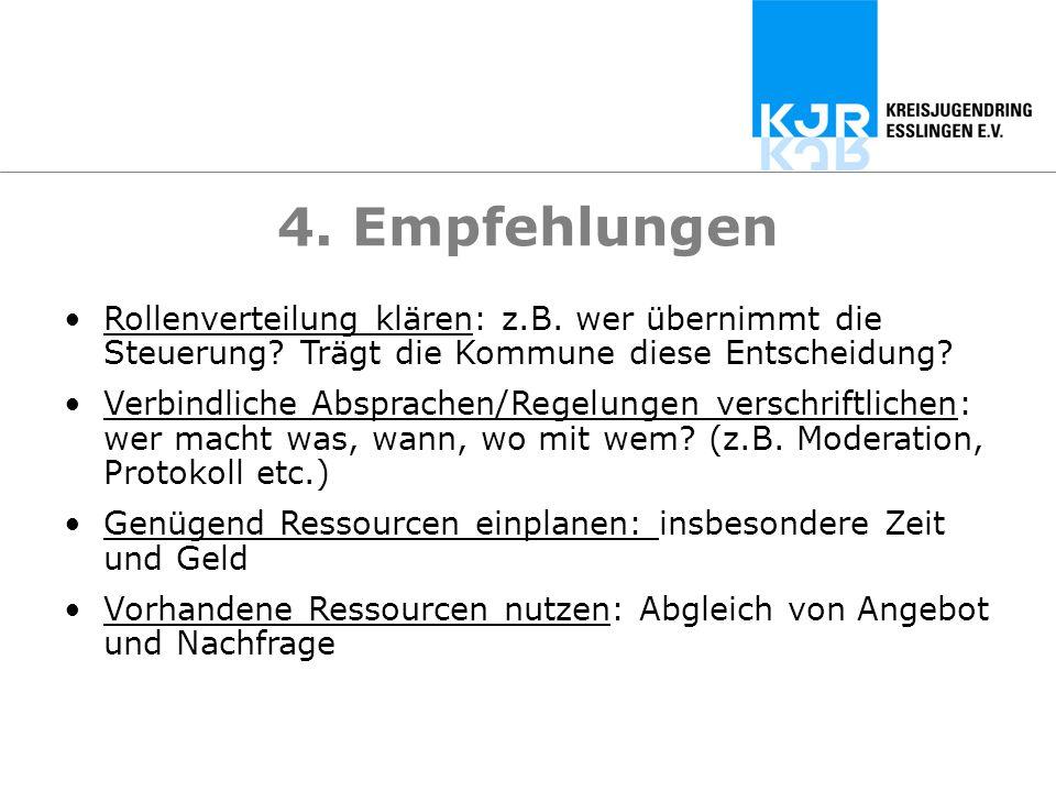 4. Empfehlungen Rollenverteilung klären: z.B. wer übernimmt die Steuerung Trägt die Kommune diese Entscheidung