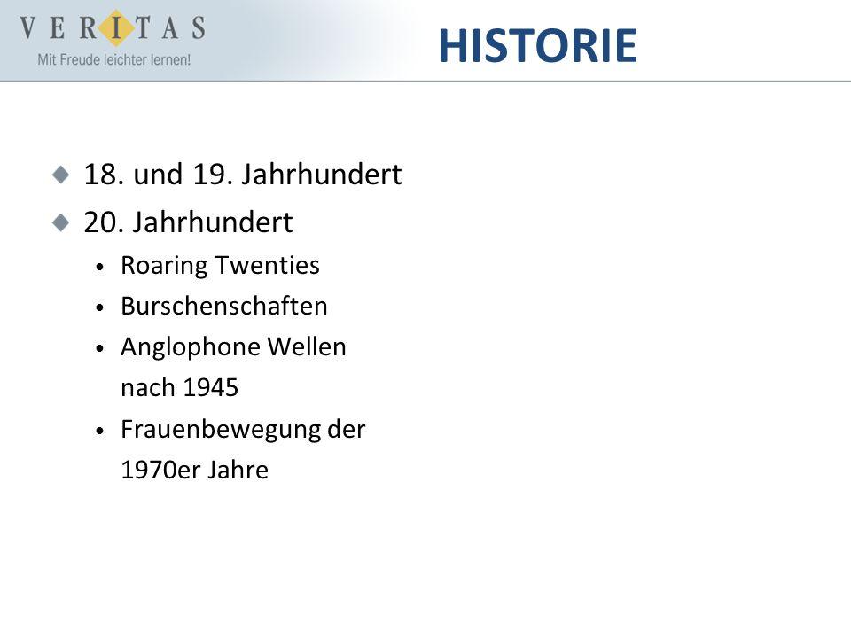 HISTORIE 18. und 19. Jahrhundert 20. Jahrhundert Roaring Twenties