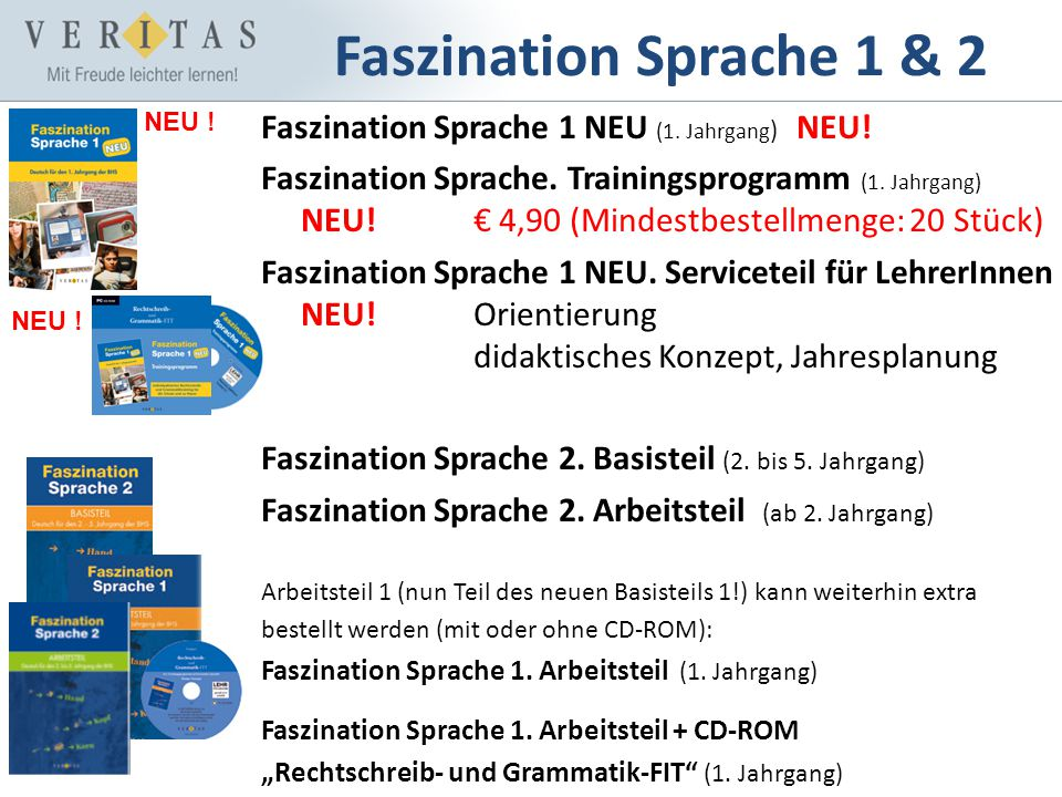 Faszination Sprache 1 & 2 Faszination Sprache 1 NEU (1. Jahrgang) NEU!