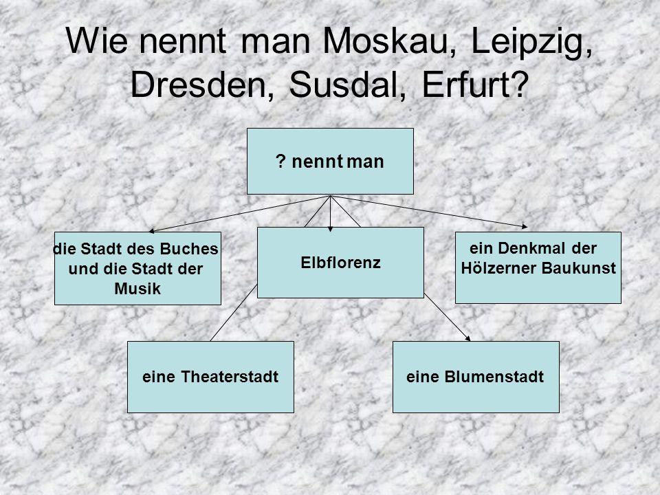 Wie nennt man Moskau, Leipzig, Dresden, Susdal, Erfurt
