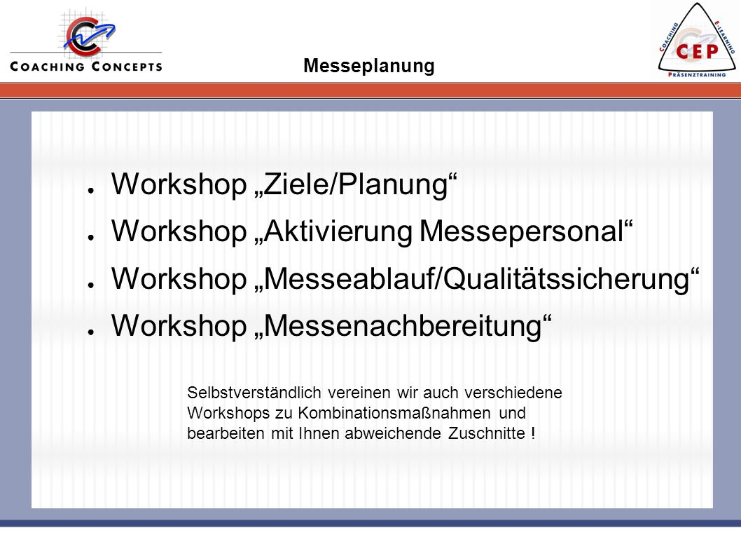 "Workshop ""Ziele/Planung Workshop ""Aktivierung Messepersonal"