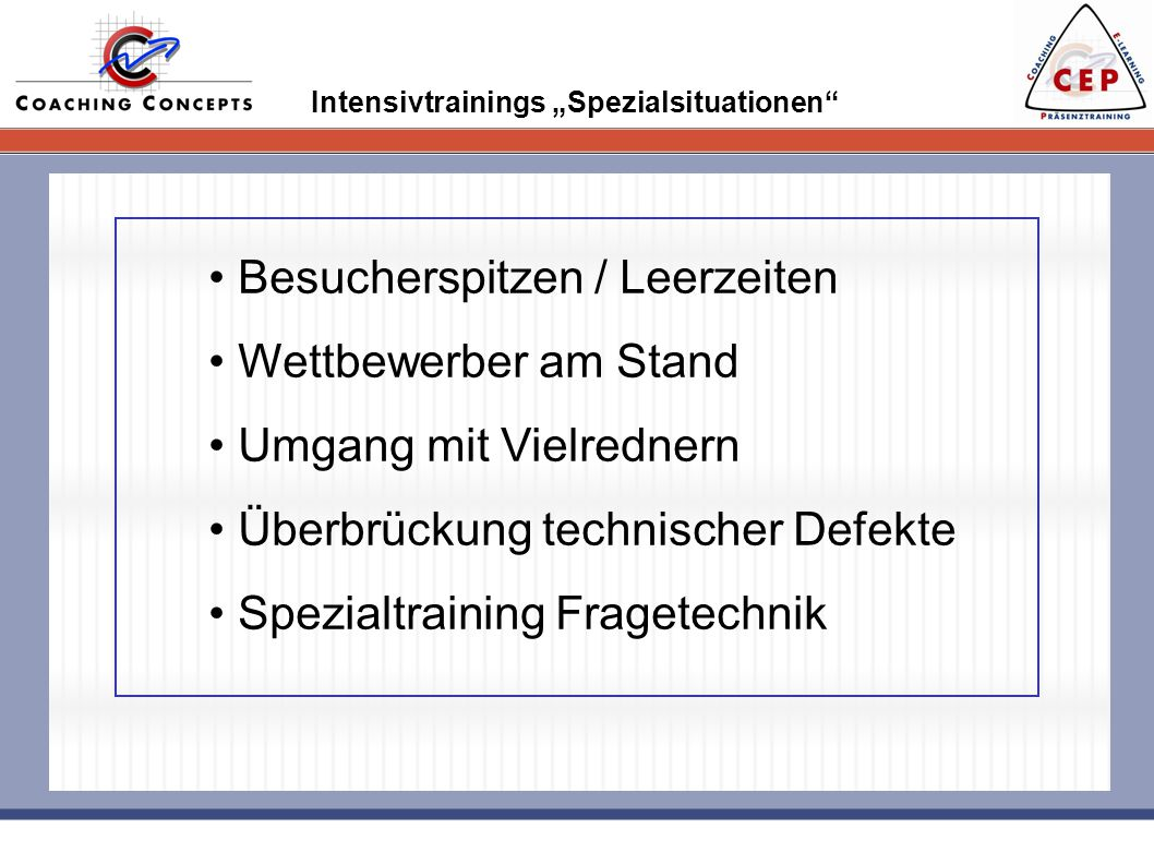 "Intensivtrainings ""Spezialsituationen"