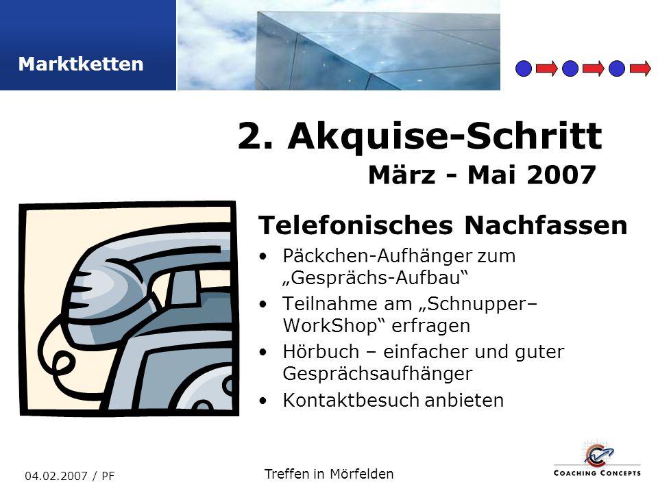 2. Akquise-Schritt März - Mai 2007 Telefonisches Nachfassen
