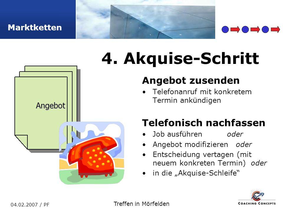 4. Akquise-Schritt Angebot zusenden Telefonisch nachfassen Angebot