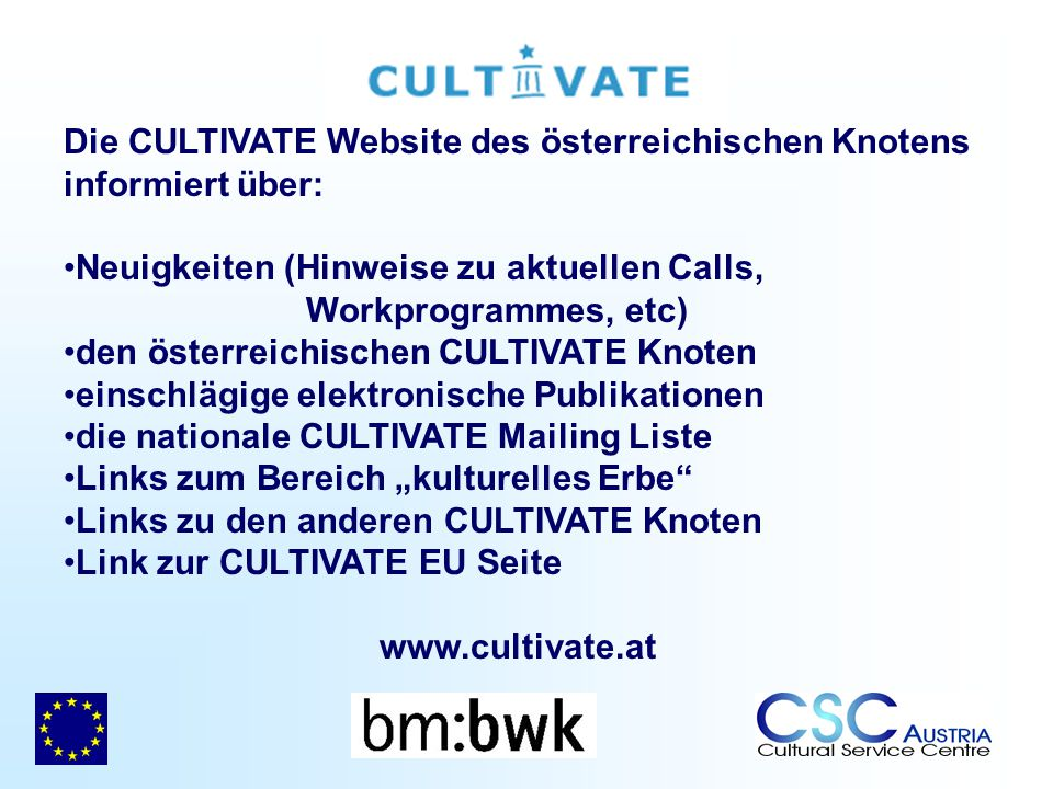 Die CULTIVATE Website des österreichischen Knotens