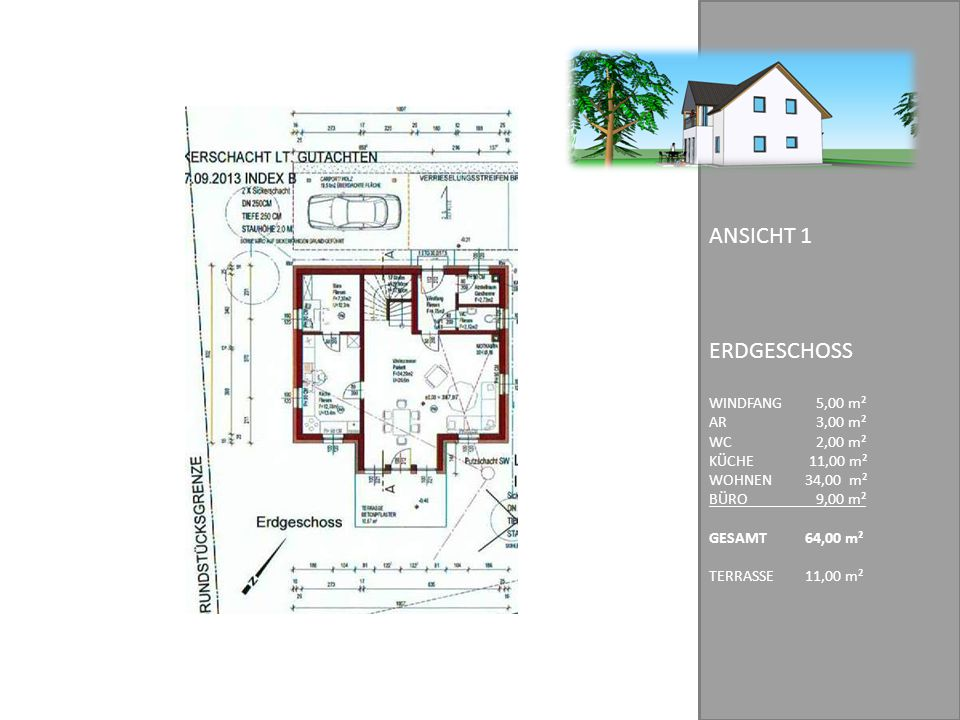ERDGESCHOSS ANSICHT 1 WINDFANG 5,00 m² AR 3,00 m² WC 2,00 m²