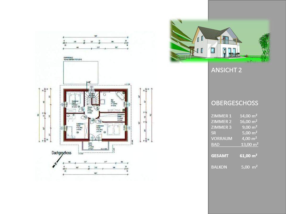 OBERGESCHOSS ANSICHT 2 ZIMMER 1 14,00 m² ZIMMER 2 16,00 m²