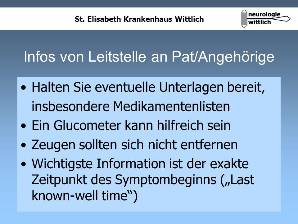 Infos von Leitstelle an Pat/Angehörige