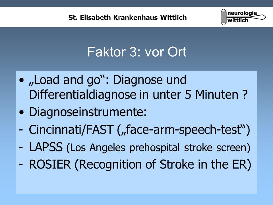 """Faktor 3: vor Ort """"Load and go : Diagnose und Differentialdiagnose in unter 5 Minuten Diagnoseinstrumente:"""