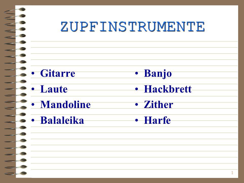 ZUPFINSTRUMENTE Gitarre Laute Mandoline Balaleika Banjo Hackbrett