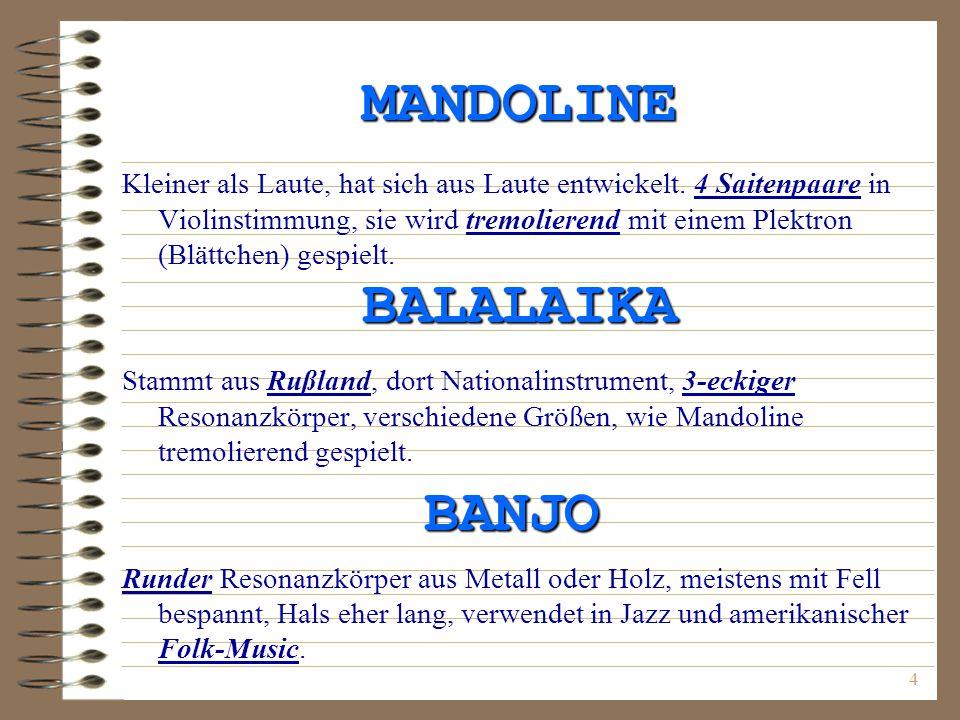 MANDOLINE BALALAIKA BANJO