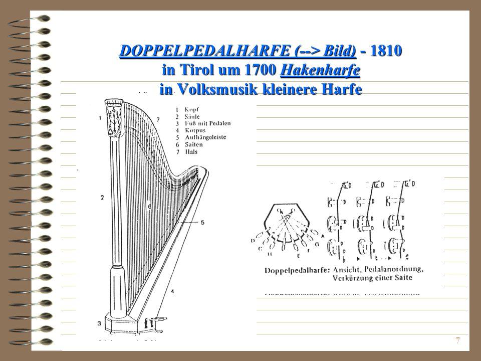DOPPELPEDALHARFE (--> Bild) - 1810 in Tirol um 1700 Hakenharfe in Volksmusik kleinere Harfe