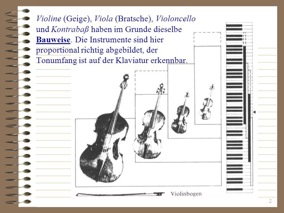 Violine (Geige), Viola (Bratsche), Violoncello und Kontrabaß haben im Grunde dieselbe Bauweise.